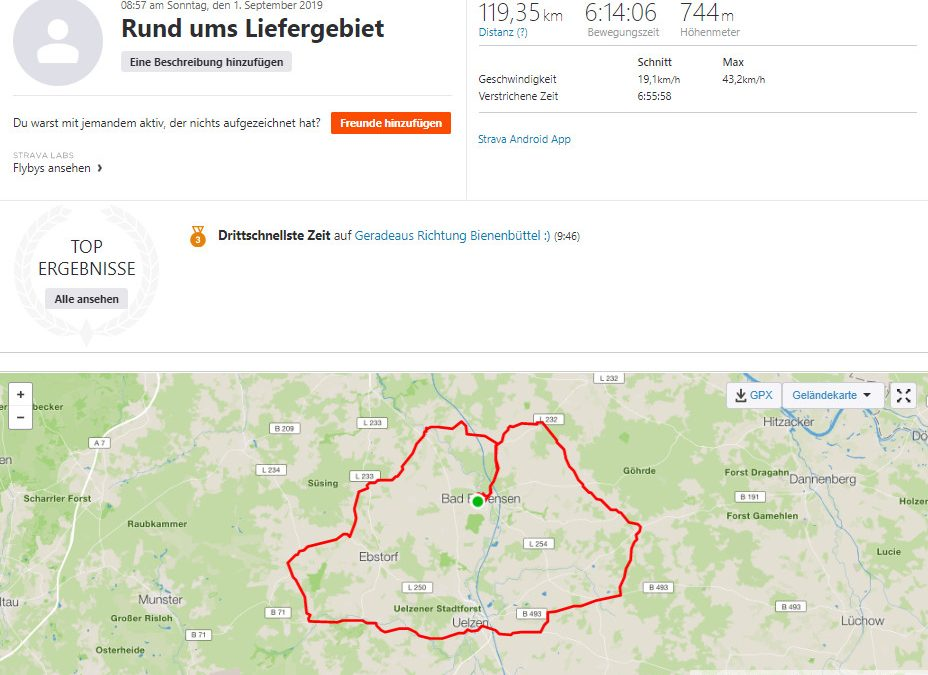 Spenden Liefer Marathon Tag 1 – 120 km / 30 Euro